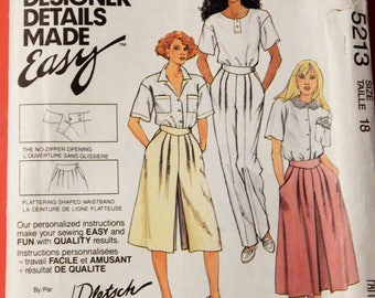 McCall's 5213 Vintage easy to sew skirt, culotte and pant pattern Uncut Size 18