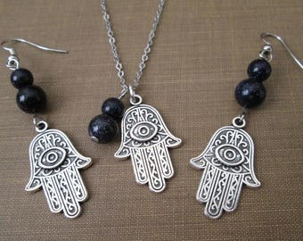 Hamsa Hand of Fatima Evil Eye and Blue Goldstone Bead Necklace and Earring Silver Tone Jewelry Set