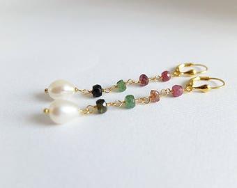Delicate Gold Earrings, Delicate linearEarrings, Minimalist Earrings,Simple gemstone Earrings,Open Earrings,Gold Earrings, blue gem earrings