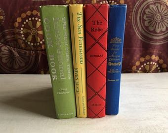 A Bundle of 4 Bright Colored Books in Red, Blue, Yellow and Green, Book Decor