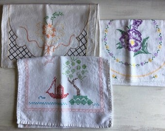 3 Vintage Embroidered Table Runners