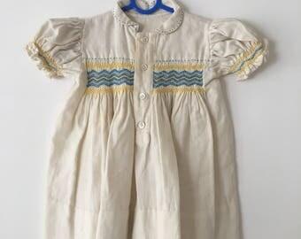 1950s/1960s smocked baby dress