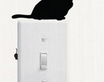X 1 Sticker sitting black cat and mouse black switch