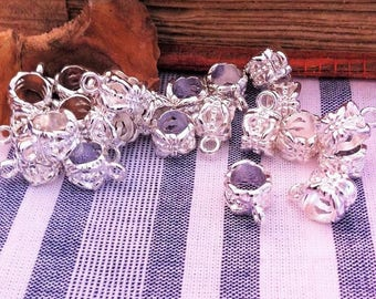 X 10 silver plated filigree bails