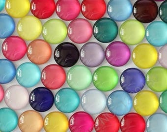 X 6 plain mix color 12mm Cabochons