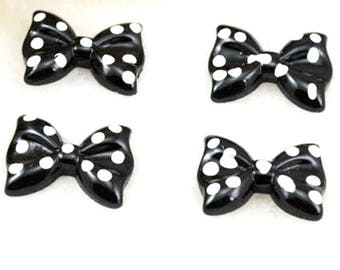 X 1 black polka dot bow Cabochon resin 30mm