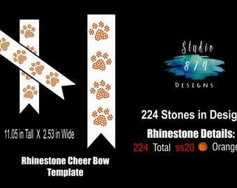 Cheer Bow - Paw - Rhinestone Transfer Template - Digital Download