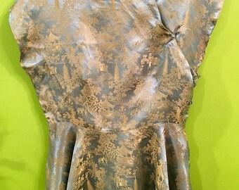 SALE 40s Hand Tailored Silky Chinese Cheongsam Peplum top M