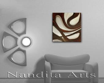 Brown Wall Art ABSTRACT PAINTING Oil Home Decor Wave Oil Painting Canvas Art Contemporary Art Home, Office or Living room wall Art - Nandita