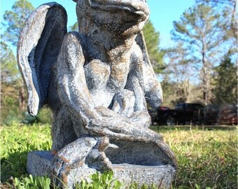 Smiling Gargoyle Sculpture With Wings Fun Protect Gaurd Your Building