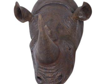 Life Size Rhino Rhinoceros Wall Head Bust Huge for Hunting Lodge Restaurant or Bar Decor