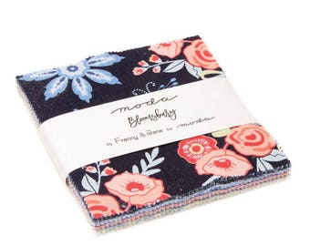"""Bloomsbury - Franny & Jane - Moda - 42 Pieces - 5"""" Squares - Charm Pack - 47510PP"""