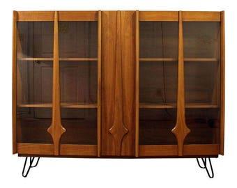 Mid-Century Bookcase Danish Modern Walnut Display Cabinet Hutch Top on Hairpin Legs