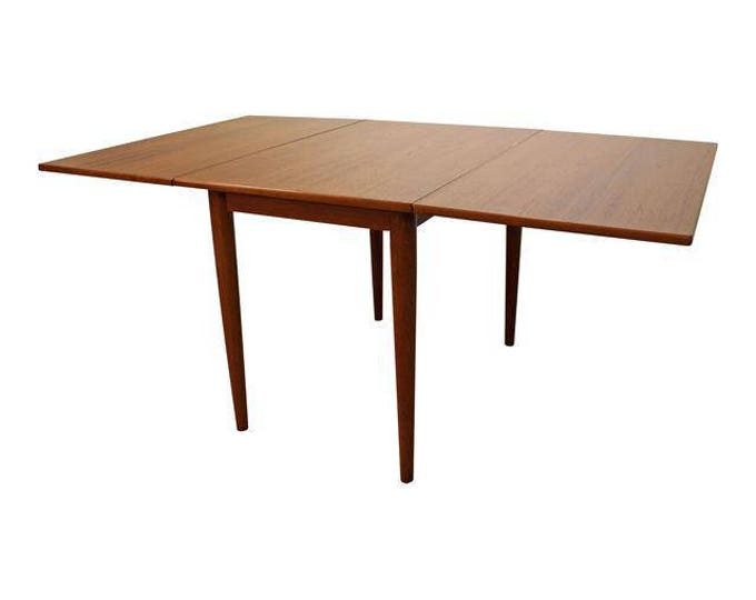 Mid-Century Dining Table Danish Modern Skovmand & Andersen Teak Drop Leaf Table