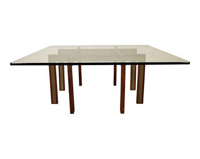 Mid-Century Danish Modern Paul Evans Cityscape Style Glass Top Coffee Table