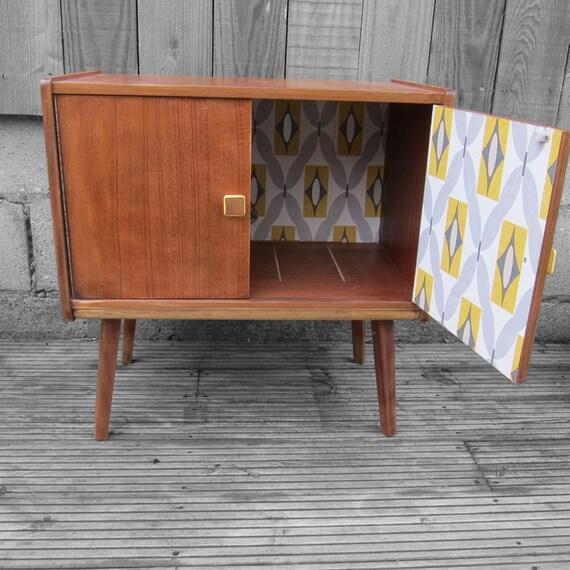 Mid Century Vintage Record Cabinet Cupboard Yellow Grey
