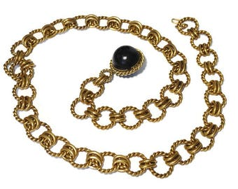 Vintage Gold Chain Belt with Black Ball Detail,Heavy Weight Metal Belt,Adjustable Length,Chunky Statement Piece,Runway Belt,Retro Disco Belt