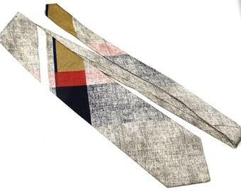 Vintage Silk Tie with Abstract Plaid Print,Parx Overtures Linen Look Tie,Preppy Tie, Neutral Colour Tie, Casual Tie,