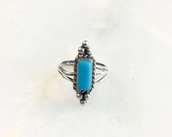 Vintage Sterling Navajo Turquoise Ring Size 4.5