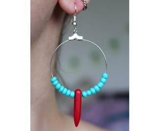 Bohemian Turquoise and Red Spike Dangle Hoop Earrings