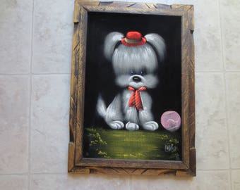 Vintage Black Velvet Picture Painted In Oils Of Puppy With Hat, Tie And Ball, Castillo Jr, Velvet Painting, Made in Mexico