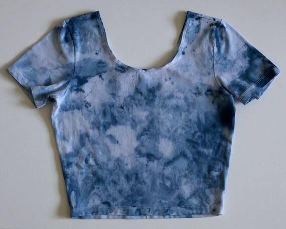 M Blue Watercolor Crop Tee