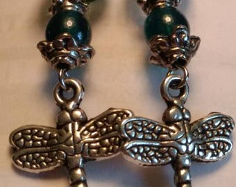 Hand crafted earrings, Dragonfly pendant style earrings, created in smoke free home. Free shipping within Canada.
