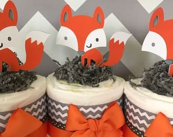 SET OF 3 Fox Mini Diaper Cakes, Woodland Baby Shower Centerpieces