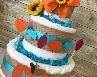 It's a Boy Fall Theme Diaper Cake, Fall Baby Shower Centerpiece cor Boys