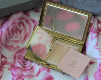 Musical Compact Mirror which plays Home On The Range c1950's .By Clover  In original box with pouch.