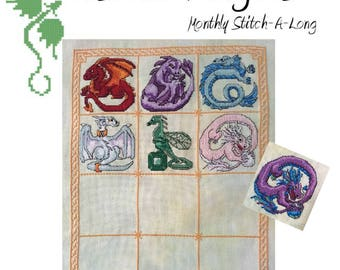Birthstone Dragon Mystery Stitch-a-Long Cross Stitch Pattern- INSTANT PDF DOWNLOAD