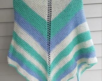 shawl, knit shawl, multicolor shawl (spearmint pop)
