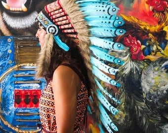 25% OFF SALE The Original - Real Feather Light Blue Chief Indian Headdress Replica 90cm, Native American Style Costume Hand Made War Bonnet