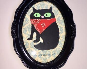 Buddhist cat screen print Framed