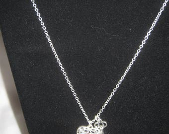 silver tone heart with key necklace