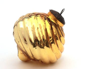 "Vintage Kugel Ornament, Kugel Mercury Glass Christmas Ornament, Gold Glass, Yellow Ribbed Glass Xmas Ornament Large 3.75"" Antique Style Xmas"