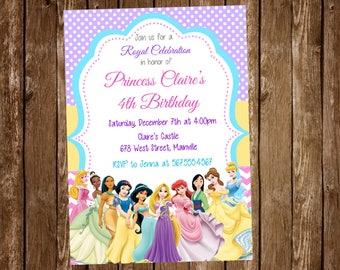 Disney Princess Birthday Party Invitation, Princess, Party, Birthday, Invitation - Digital or Printed with FREE SHIPPING