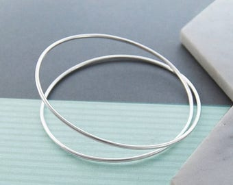 ON SALE NOW Solid Silver Bangle, Infinity Bangle, 925 Silver Bangle Bracelet, Simple Bracelet, Sterling Silver Bangle, Silver Bangle Uk, Wir