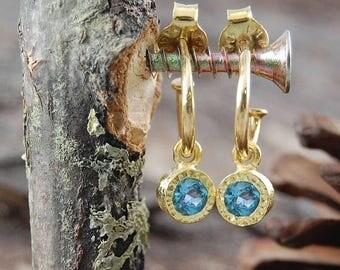ON SALE NOW Blue Topaz Gold Hoop Earrings, Blue Topaz Hoops, Gold Earrings, Blue Topaz, Gold Blue Topaz Earrings, Blue Gemstone, Gift For He