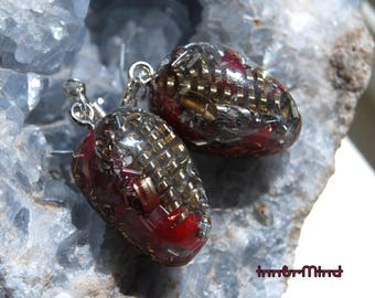 Orgone Earrings Orgonite® with clear Quartz, 925 Sterling Silver Red Positive Energy Generators