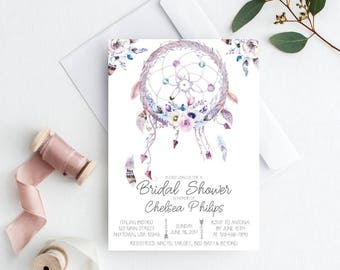 Boho Bridal Shower, Boho Bridal Shower Invitation, Boho Bridal Shower Invite, Dreamcatcher Invitation, Bohemian Bridal Shower Invitation