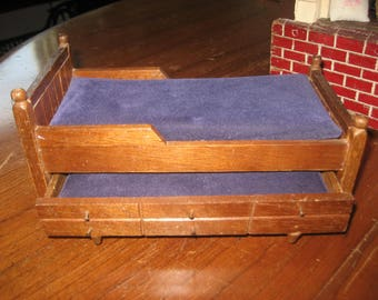 Dollhouse vintage wooden trundle bed with hand made pillow and blanket (3 items)