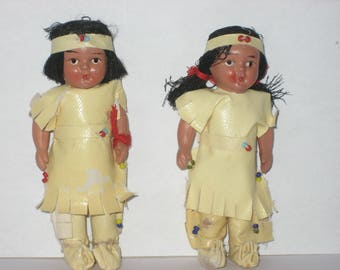 "Miniature vintage Native American dolls - 2 items - 3 1/2"" tall"