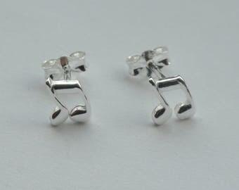 Musical note earrings, Sterling silver musical note earrings, Cute silver music note earrings, Gift for music lover, Earrings for children