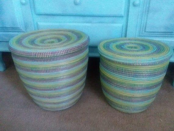 Aqua colours modern basket flat lid basket tropical sea - Modern hamper with lid ...