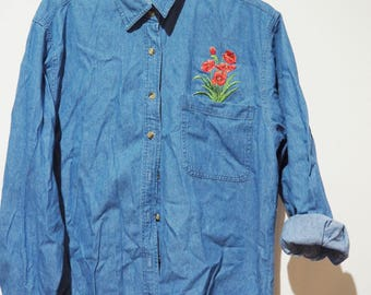 Shirt jeans embroidered with pink vintage-90's