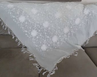 Vintage Off White Silk Embroidered Piano Shawl 50 X 52