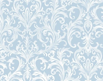 Elegant Ivory White Scrolls on Soft Blue, Roses on the Vine, Marti Michell, Maywood (By YARD)~