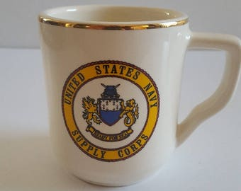 """Vintage United States Navy Supply Corps """"unseasoned"""" coffee mug, USA made China by WC Bunting Co. Liverpool,Ohio"""