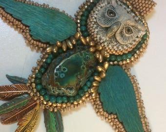 Bead Embroidery Owl Pendant